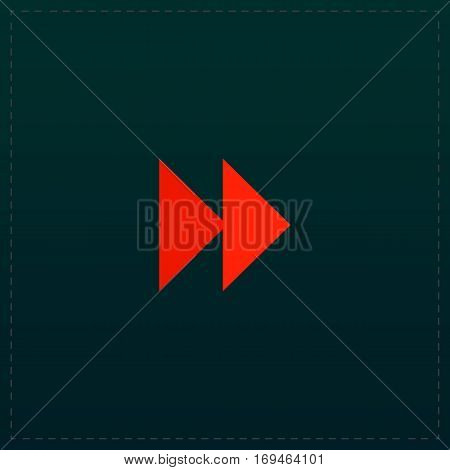 Rewind forward. Color symbol icon on black background. Vector illustration