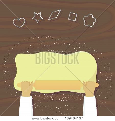 Rolling dough for cookies top view vector illustration