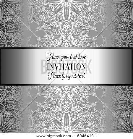 Romantic Background With Antique, Luxury Gray And Metal Silver Vintage Frame, Victorian Banner, Intr