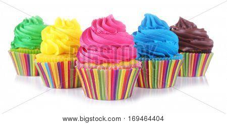 Fresh tasty cupcakes on white background