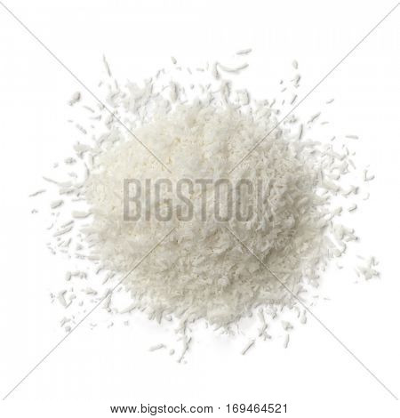 Heap of shredded coconut meat on white background