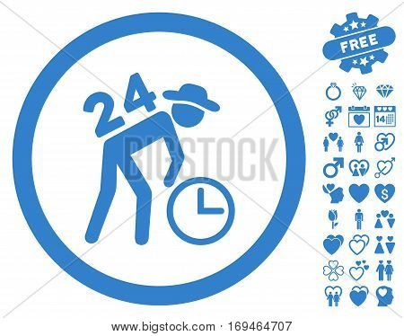 Around The Clock Work pictograph with bonus amour images. Vector illustration style is flat rounded iconic cobalt symbols on white background.