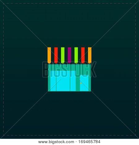 Store shop. Color symbol icon on black background. Vector illustration