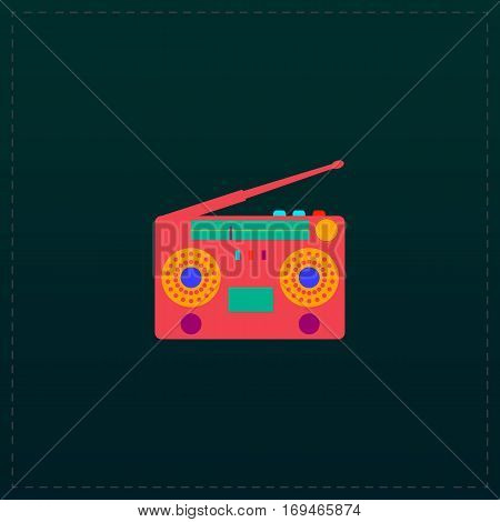 Classic 80s boombox. Color symbol icon on black background. Vector illustration