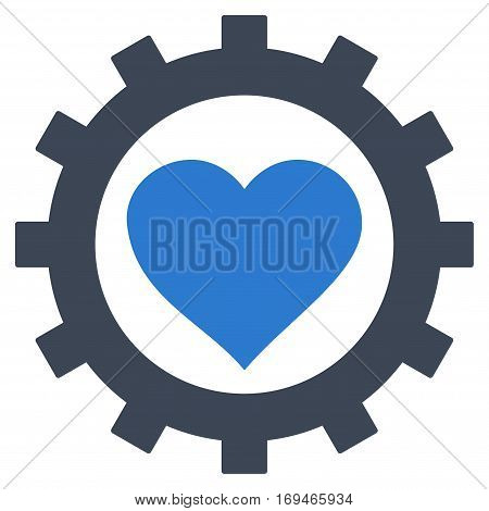 Love Heart Options Gear flat icon. Vector bicolor smooth blue symbol. Pictograph is isolated on a white background. Trendy flat style illustration for web site design logo ads apps user interface.