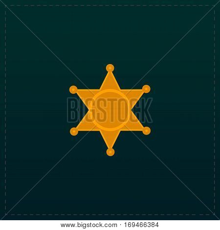 Sheriff star. Color symbol icon on black background. Vector illustration