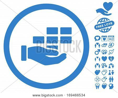 Service Schedule icon with bonus passion pictograms. Vector illustration style is flat rounded iconic cobalt symbols on white background.