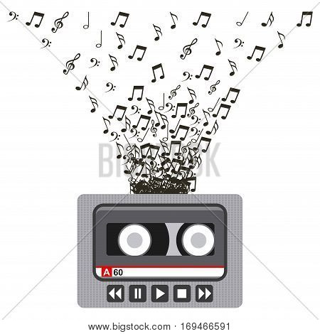 music casette with musical notes over white background. colorful design. vector illustration