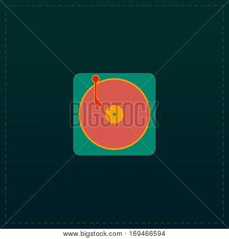 Turntable dj. Color symbol icon on black background. Vector illustration