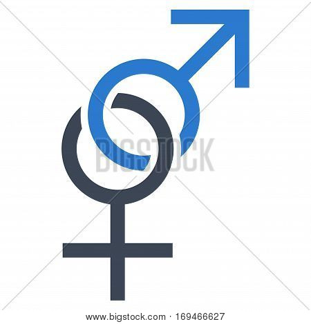 Sex Symbol flat icon. Vector bicolor smooth blue symbol. Pictograph is isolated on a white background. Trendy flat style illustration for web site design logo ads apps user interface.