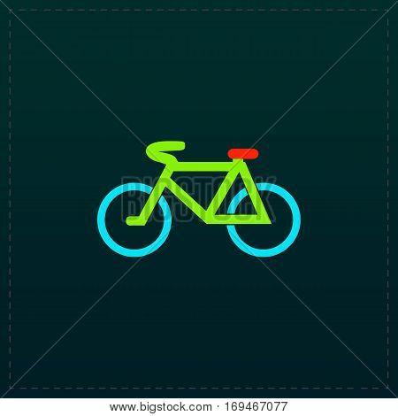 Mountain bike. Color symbol icon on black background. Vector illustration