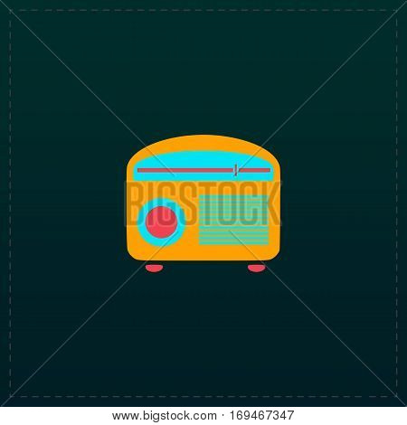 Retro revival radios tuner. Color symbol icon on black background. Vector illustration