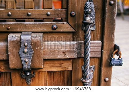 forged parts on old wooden surfaces, antique style