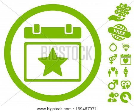 Favourites Day icon with bonus lovely pictograph collection. Vector illustration style is flat rounded iconic eco green symbols on white background.