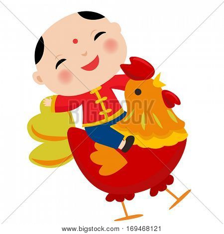 Vector illustration of Cartoon Chinese Kids.Symbol of 2017 red rooster Chinese New Year