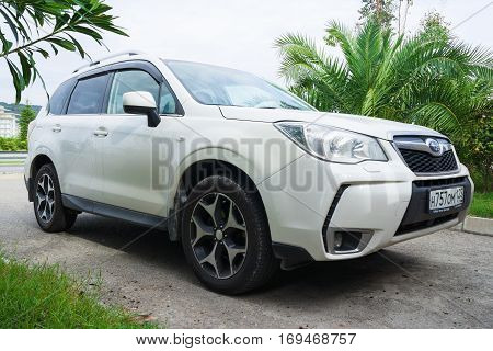 Sochi, Russia - October 11, 2016: Beautiful Subaru Forester parked on the street of Sochi City.