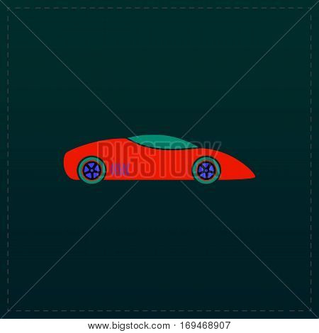 Silhouette of sport car for racing sports. Color symbol icon on black background. Vector illustration
