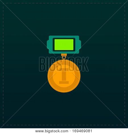 First place. Color symbol icon on black background. Vector illustration