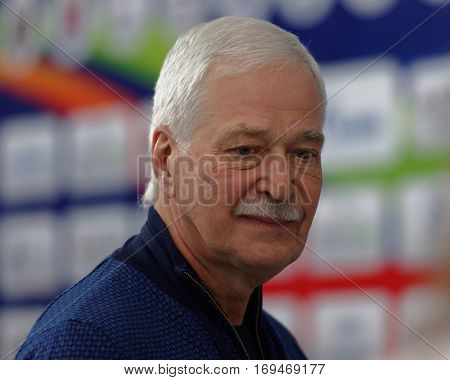 ST. PETERSBURG, RUSSIA - DECEMBER 16, 2016: Former Minister of Defense of Russia Boris Gryzlov during X Vladimir Salnikov Cup. Athletes from 6 countries participated in the competitions