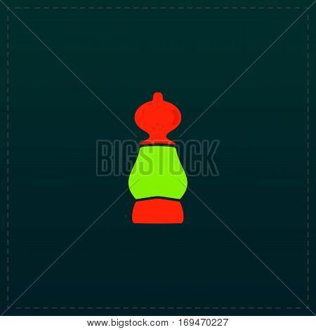 Chess pawn. Color symbol icon on black background. Vector illustration