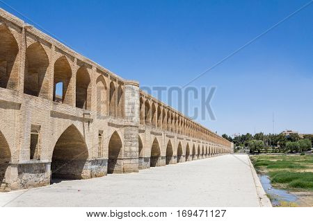 Si o Seh Pol bridge on a sunny day in summer in Isfahan Iran