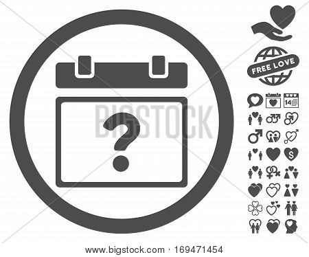 Unknown Date pictograph with bonus decorative design elements. Vector illustration style is flat rounded iconic gray symbols on white background.
