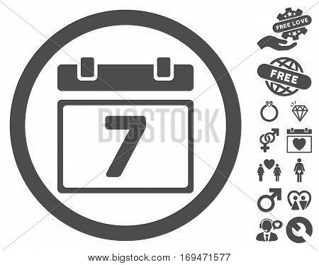 Week icon with bonus valentine graphic icons. Vector illustration style is flat rounded iconic gray symbols on white background.