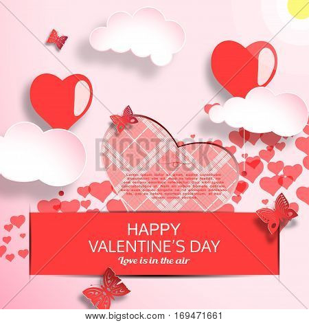 Vector greeting card of Happy Valentine's Day with gradient light red background sun clouds heart shape with line pattern insert in pocket and butterflies cuted from paper.