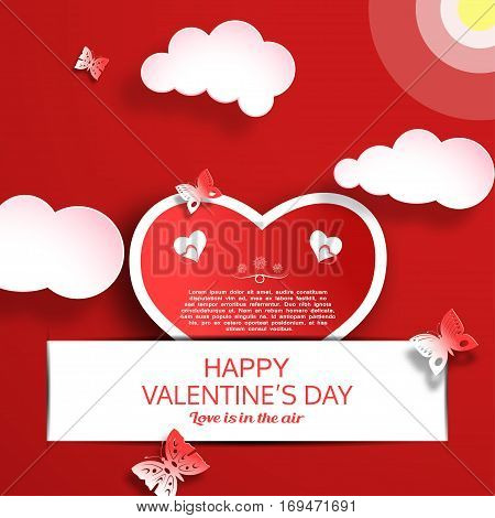 Vector greeting card of Happy Valentine's Day with dark red background sun clouds heart shape insert in slot white stripe and butterflies cuted from paper.