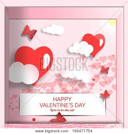 Vector open greeting box for Happy Valentine's Day with pink background sun clouds heart shape white stripe insert in slots and butterflies cuted from paper inside.