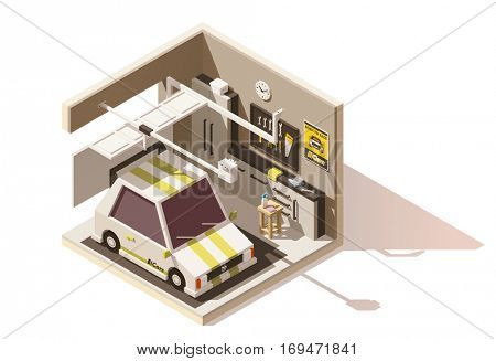 Vector isometric low poly garage cutaway icon. Includes furniture, garage door, car and tools