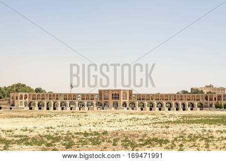 Khajoo bridge seen from the dry river. Khaju Bridge (Persian: Pol-e Khaju) is a bridge in the province of Isfahan Iran which has been described as the finest in the province. It was built by the Persian Safavid king Shah Abbas II around 1650