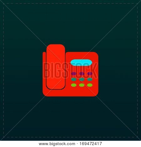 Fax machine. Color symbol icon on black background. Vector illustration