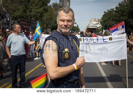 BELGRADE SERBIA - 18 2016: People demonstrating in favour of LGBT rights during the 2016 Belgrade Gay Pride. Swedish policemen in the Belgrade gay pride coming to show support to LGBTQ rights in Serbia