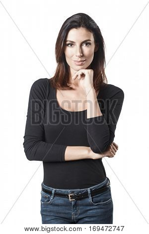 Portrait of attractive young casual woman, looking at camera.