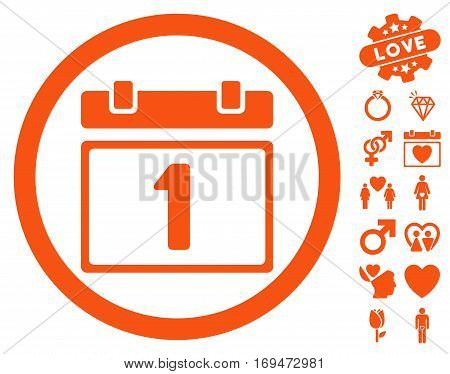 First Day icon with bonus lovely images. Vector illustration style is flat rounded iconic orange symbols on white background.