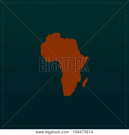 Africa Map. Color symbol icon on black background. Vector illustration
