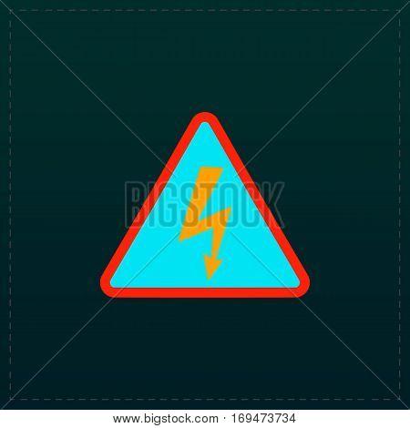 High voltage Color symbol icon on black background. Vector illustration
