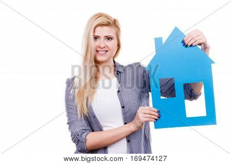 Woman Holding Blue Paper House Model Cutout.