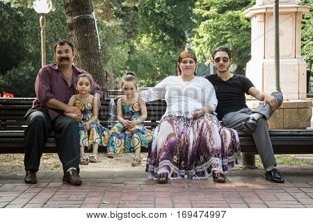 PANCEVO SERBIA - JUNE 13 2015: Portrait of a Roma family wearing traditional costumes