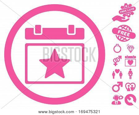 Favourites Day pictograph with bonus valentine symbols. Vector illustration style is flat rounded iconic pink symbols on white background.