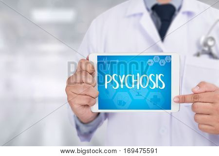 Psychosis And Background Of Medicaments Composition, Stethoscope, Mix Therapy Drugs Doctor And Selec