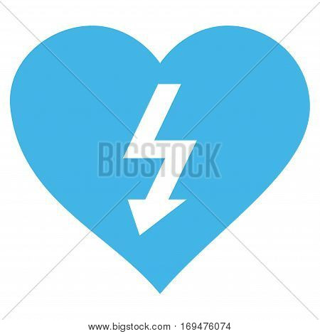 Power Love Heart flat icon. Vector blue symbol. Pictogram is isolated on a white background. Trendy flat style illustration for web site design, logo, ads, apps, user interface.