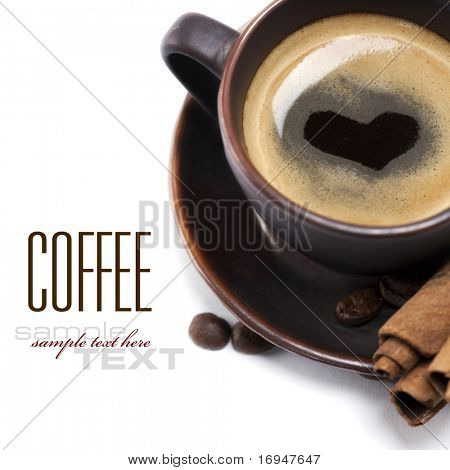 Cup Of Coffee With Heart Image On White Background (with sample text)