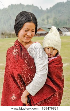 Woman With Daughter In Arunachal Pradesh