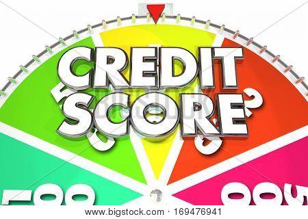 Credit Score Rating Number Win Best Spinning Wheel 3d Illustration
