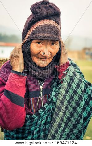 Woman With Nose Plugs In Arunachal Pradesh