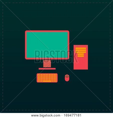Computer case with monitor, keyboard and mouse. Color symbol icon on black background. Vector illustration