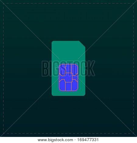 Sim card. Color symbol icon on black background. Vector illustration