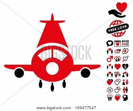 Cargo Plane icon with bonus love pictures. Vector illustration style is flat iconic intensive red and black symbols on white background.